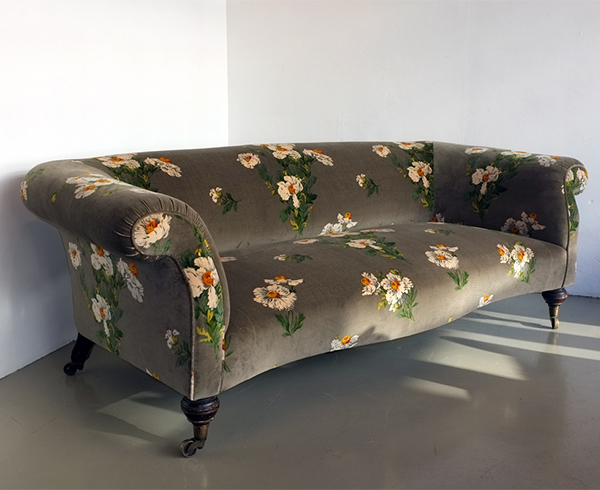 Floral print grey sofa upholstered by Urban Upholstery London