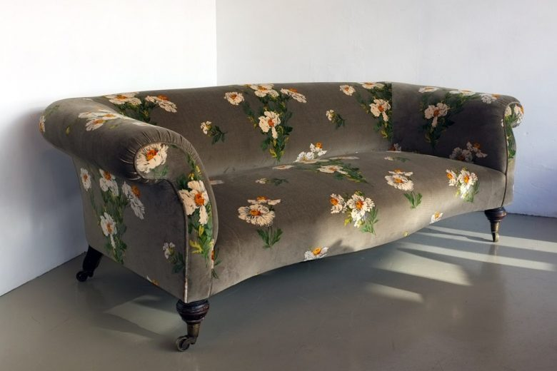 Grey floral sofa by london studio Urban Upholstery