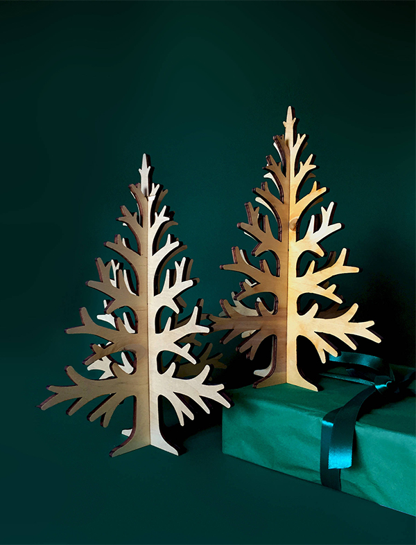 Laser cut plywood minimalist Christmas tree