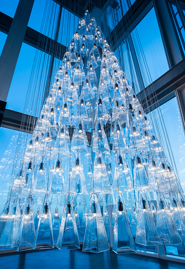 Lee Broom's glass Christmas tree at Aqua Shard