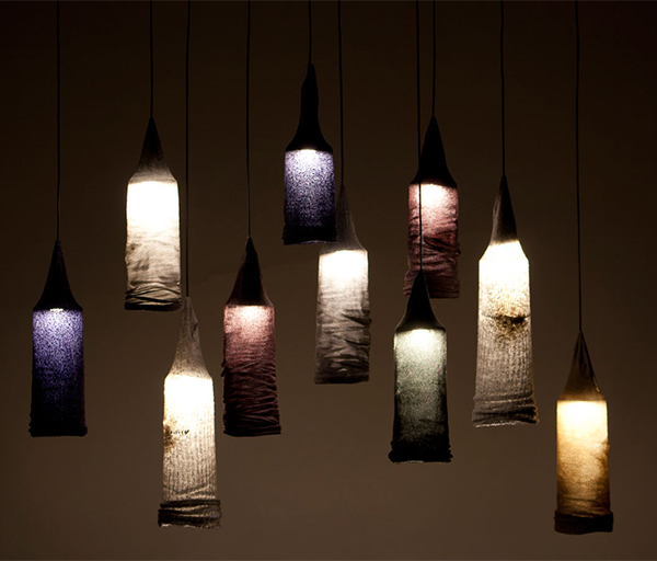 Lighting made from upcycled socks by Jay Watson