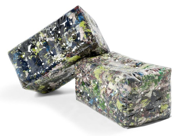 Plof seating stuffed with shredded recycled textiles by Atelier Belge