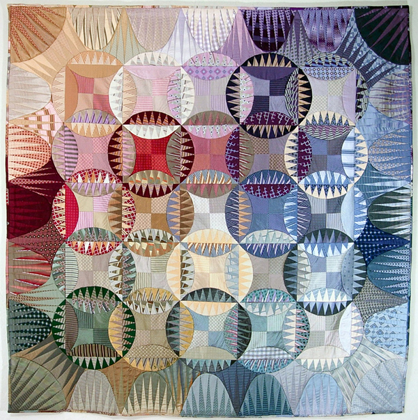 Quilt made from upcycled silk ties by Peppermint Pinwheels