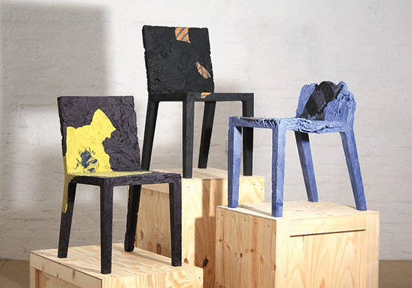 RememberMe Chair made from upcycled garments by Tobias Juretzel