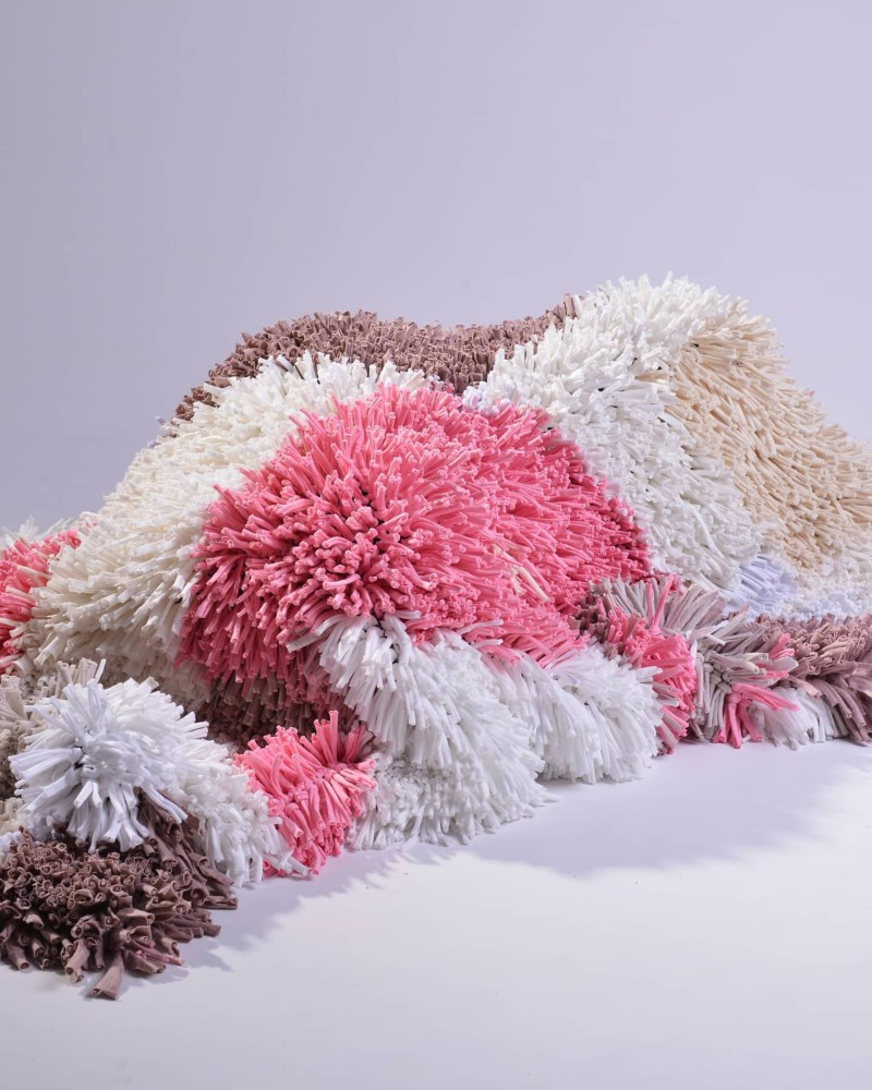 Shaggy rag rug made from recycled textiles