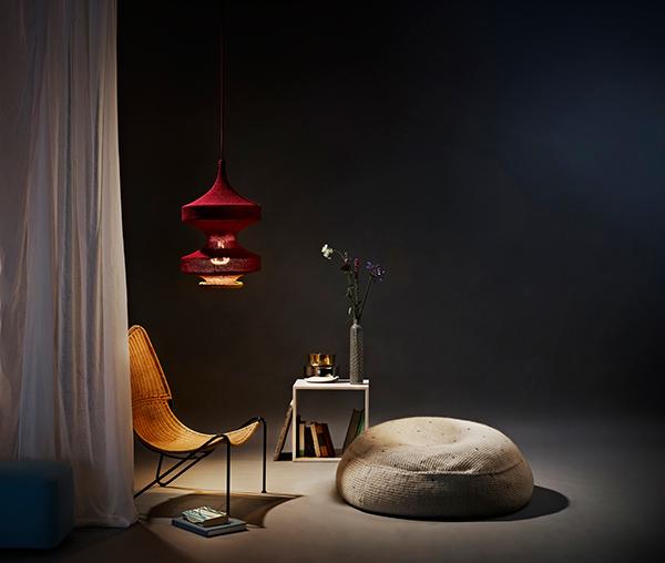 Sonne contemporary textile pendant light by Naomi Paul