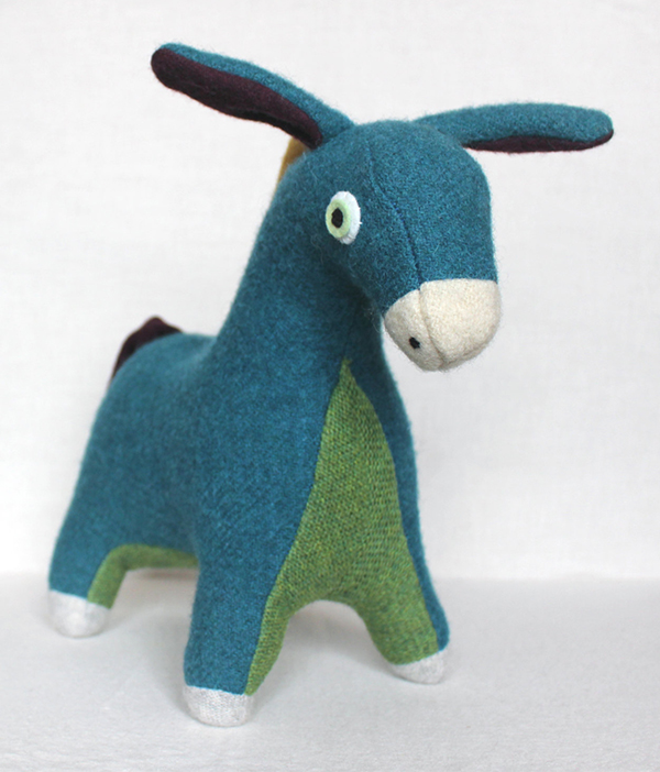 Toy donkey made from upcycled clothing by Woolezoo