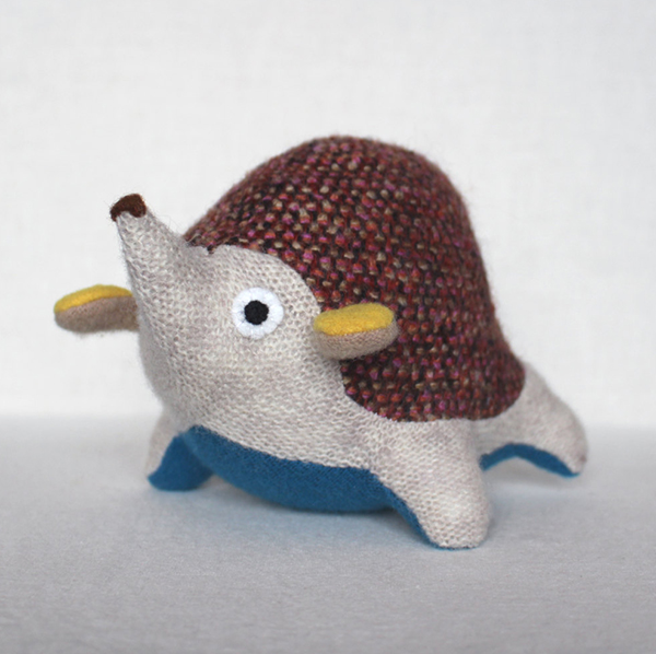 Toy hedgehog made from upcycled sweaters