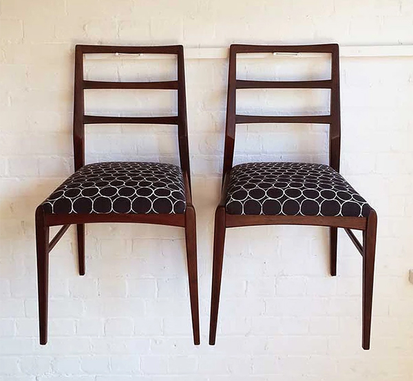 Vintage chairs reupholstered in black and white by Alex Cattell fabric