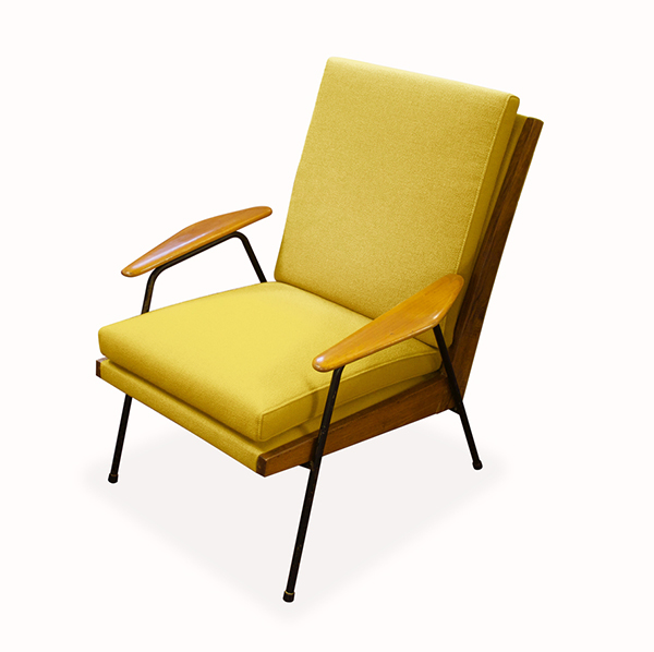 Yellow midcentury chair by Chelsea Upholstery and Interiors