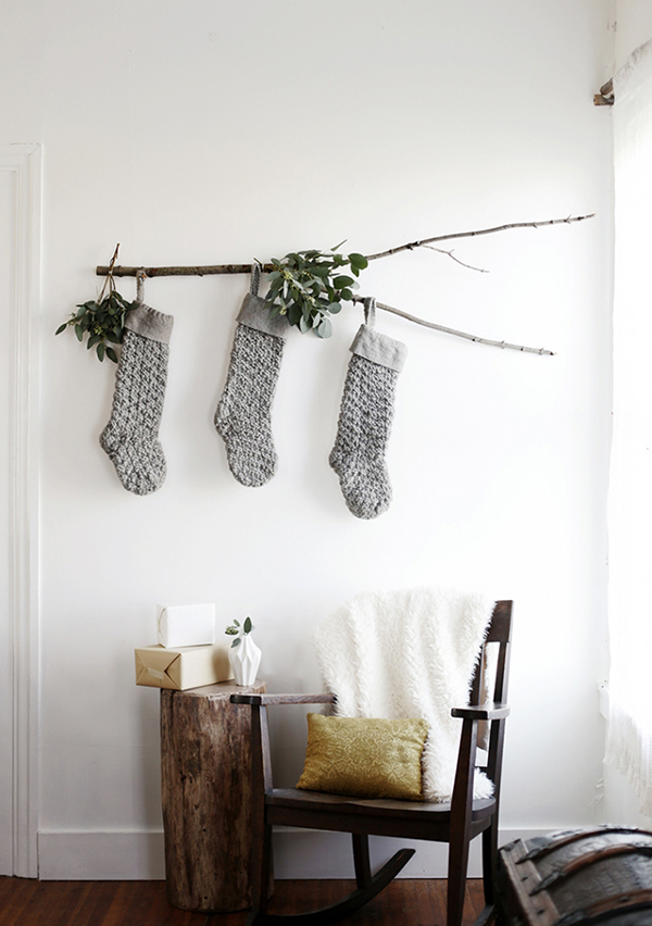 Branch decoration for hanging Christmas stockings