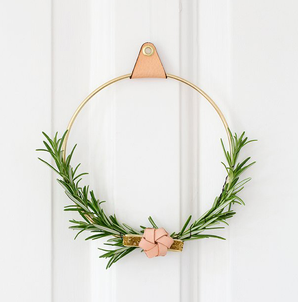 brass ring wreath minimalist christmas decor - Minimalist Christmas Decor