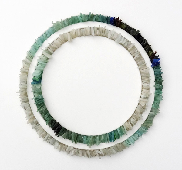 Circular sea glass sculpture by Jonathan Fuller