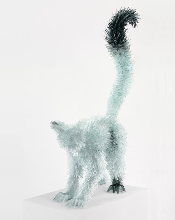Contemporary glass sculpture of a lemur by Marta Klonowska