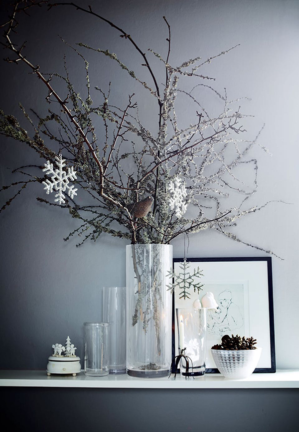 Dried natural branch Christmas centrepiece with grey neutral colour scheme