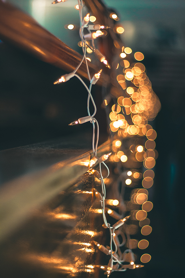 Fairy lights at a window