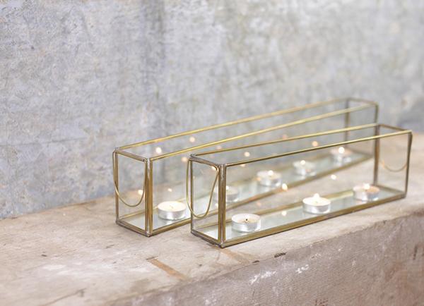 Glass tealight holder by Nkuku