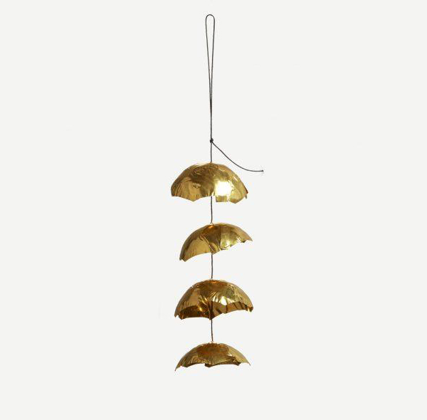 Hanging brass cup decoration