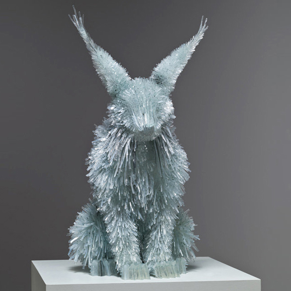 Hare sculpture by glass artist Marta Klonowska