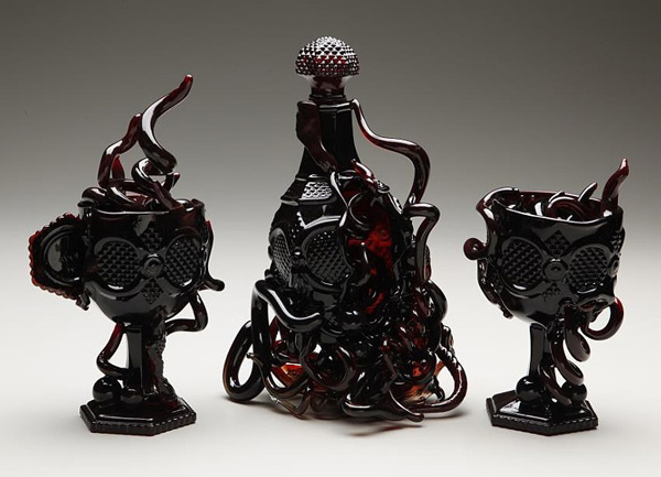 Reworked vintage glass sculpture by Amber Cowan