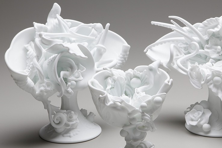 Reworked white glass by artist Amber Cowan