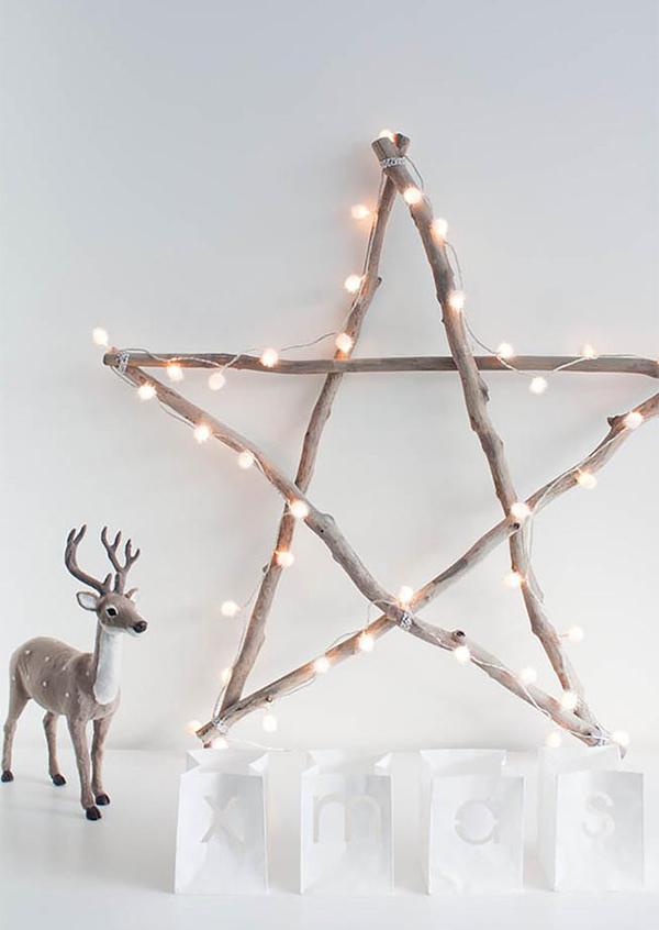 Scandi star made from wooden sticks