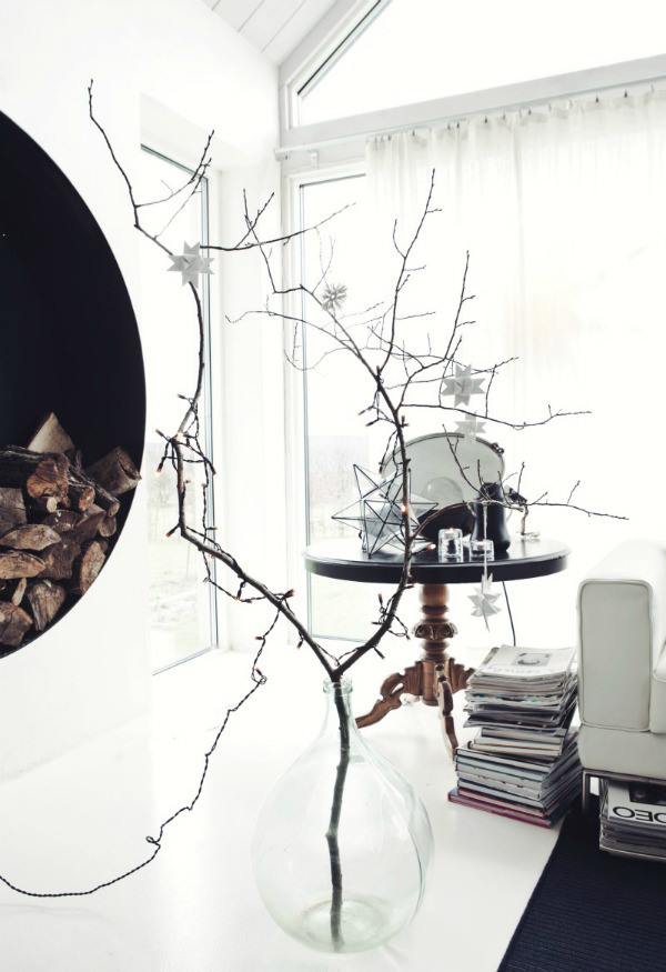 Scandi winter decoration natural branch centrepiece