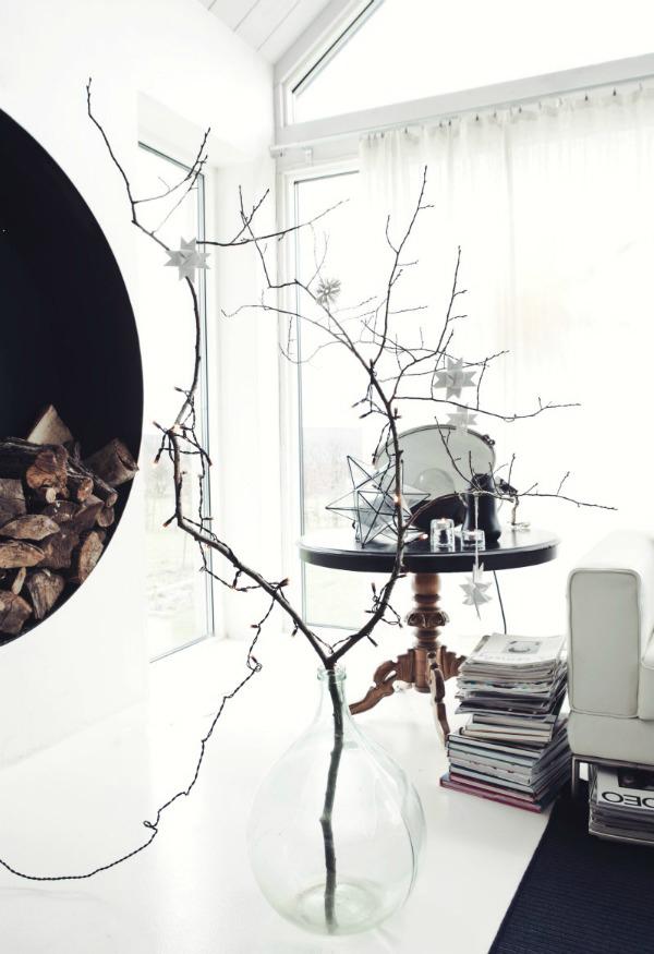 Scandi winter decoration natural branch centrepiece