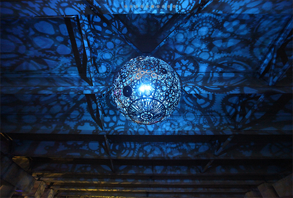 Ballroom Luminosa lighting installation made from used bicycle parts