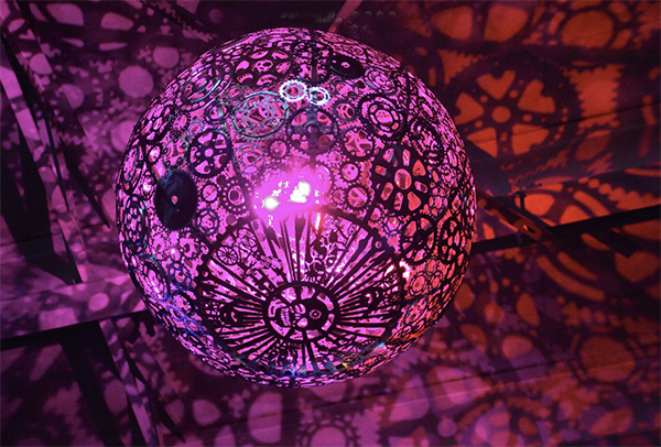 Ballroom Luminoso chandelier made from used bicycle parts