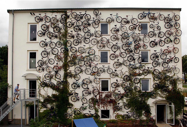 Bike shop front covered in bicycles