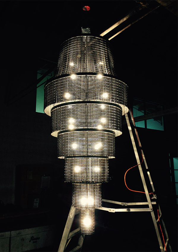 Chandelier made from recycled bike parts