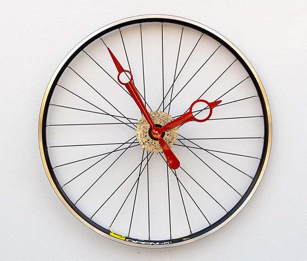 Clock made from upcycled bicycle wheel