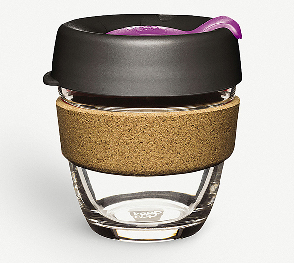 Cork and glass reusable coffee cup with black lid