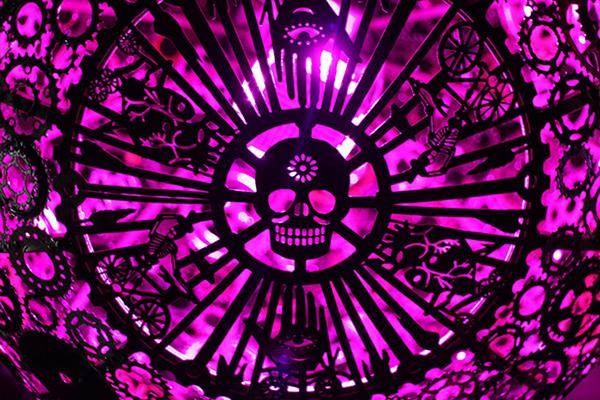 Detail of Ballroom Luminosa made from used bicycle parts