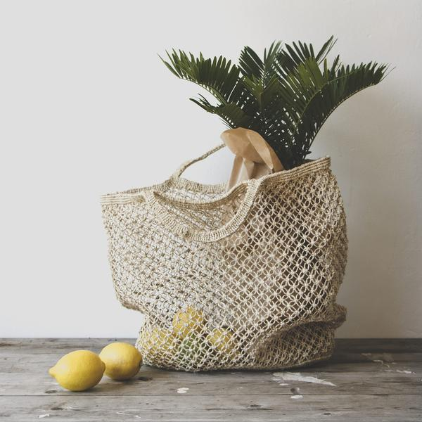Jute macrame reusable shopping bag