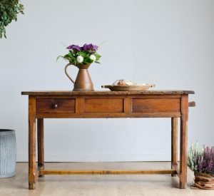 Late 18th century fruitwood French antique country farmhouse table