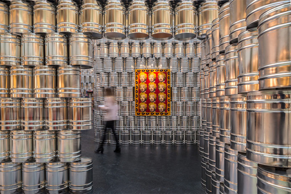 Pop up gallery space made from paint tins by LIKE Architects