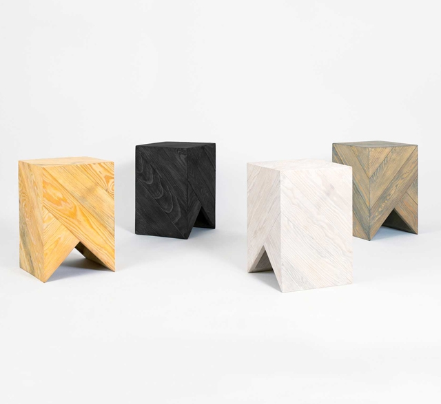 Reclaimed pine stool by Daniel Becker