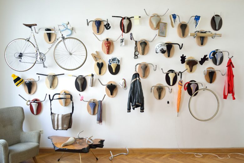 Wall hangings made from upcycled used bicycle parts