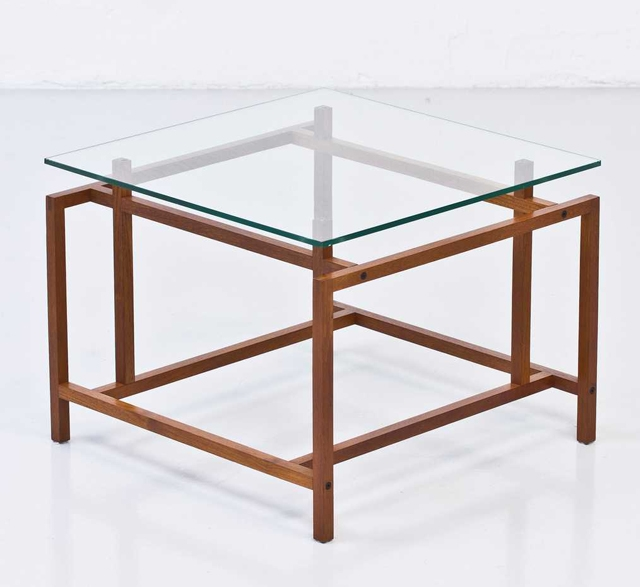 1960s Vintage side table with glass top by Henning Nørgaard