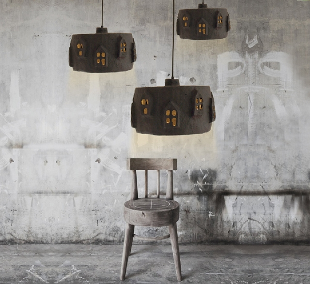 Black City Light paper pulp lampshade by The Paper Moon Factory