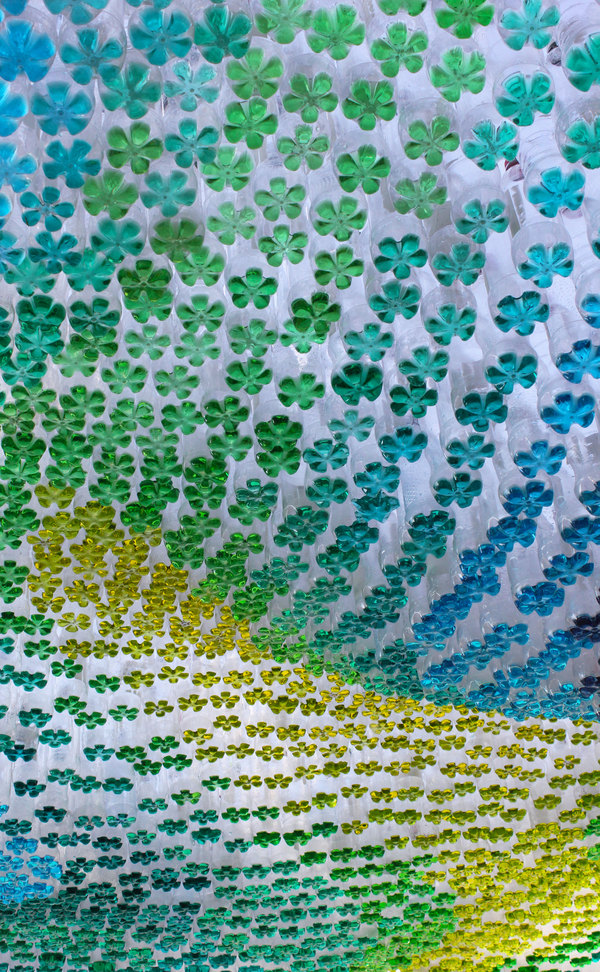 Detail of plastic bottles filled with coloured liquid