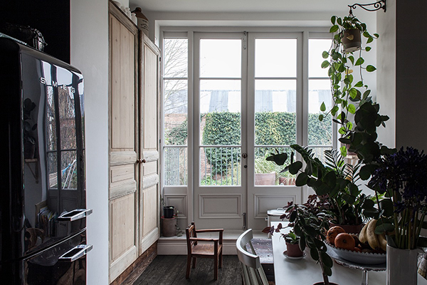 French windows in the kitchen