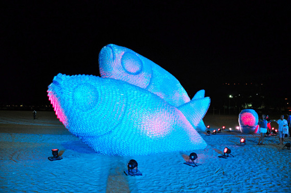 Giant fish sculpture made from plastic bottles