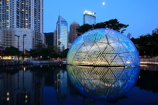 Large dome installation created from plastic bottles