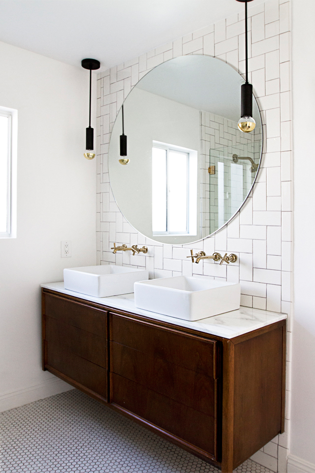 Marble topped credenza in the bathroom