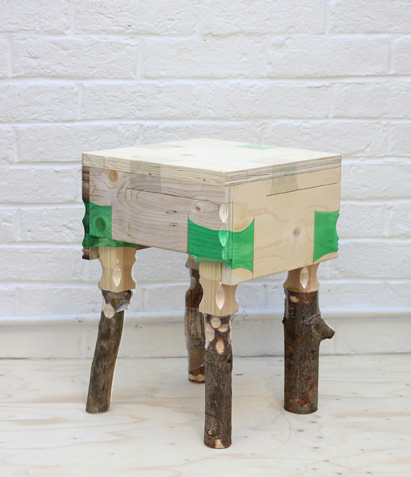 Plastic bottle furniture joinery by Micaella Pedros