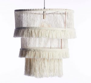 Three tier off-white fringed chandelier made from recycled cotton