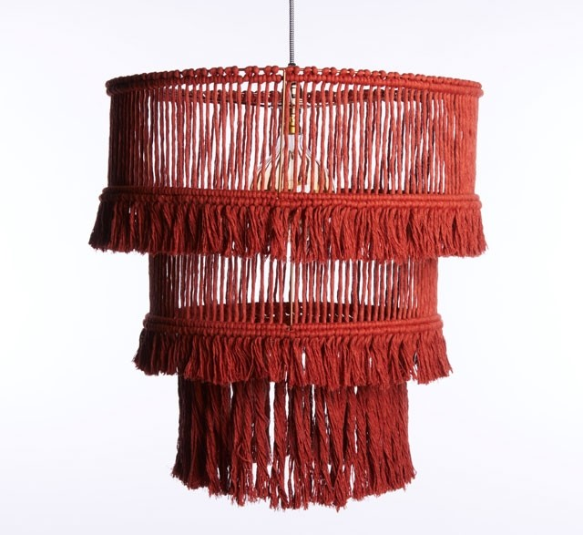 Three tier red fringed chandelier made from recycled cotton